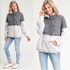 Sweaters - CHARCOAL IVORY TWO TONE FIZZY SWEATER